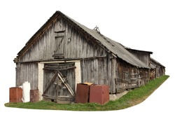 Abandoned aged  wooden vintage  retro  rural shed  for storage of firewood and agricultural tools. Isolated on white with patch