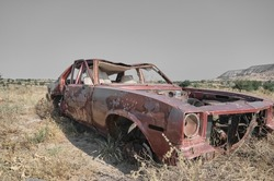 Abandoned and brownfield vintage style car standing on agricultural field covered by yellow plants and grass