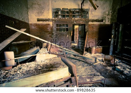 Abandoned and decayed building at historic Kings Park Psychiatric Hospital, Kings Park NY
