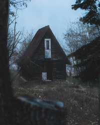 Abandoned and dilapidated forest home lost in the fog