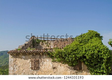 Abandoned and dilapidated houses idyllically overgrown with plants characterize the idyllic landscape #1244331193