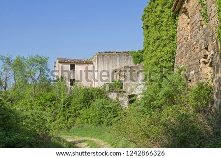 Abandoned and fallen houses idyllically overgrown with plants characterize the idyllic landscape #1242866326
