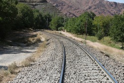 abandoned and lonely railway in long shot