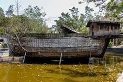 Abandoned ark in a dock in a water tank. The old wooden ship with roots of the tree grow from the side.