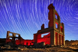 Abandoned Bank Located in Rhyolite, Nevada Light Painted With Blue Hour Sky