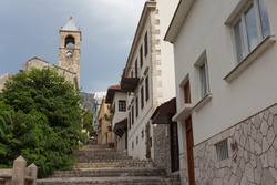 Abandoned bell tower of the Catholic Church in the Old Town of Mostar. Bosnia and Herzegovina