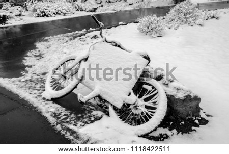 Abandoned Bicycle Covered with Heavy Snow, Lay on the ground at Grand Canyon, Arizona, USA.