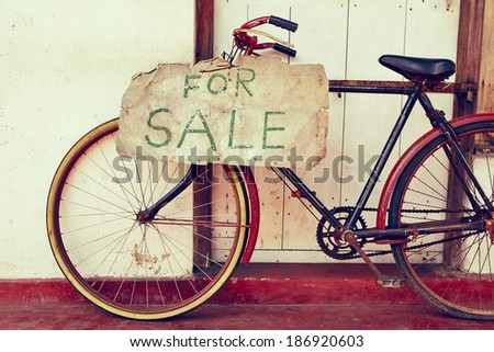 Abandoned bicycle for sale - retro color