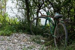 Abandoned bicycle near a lake.