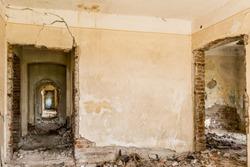 Abandoned broken ruined house inside details
