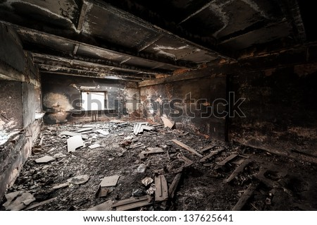 Abandoned building after fire