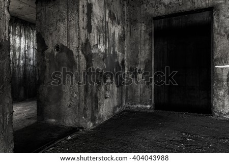 Abandoned building place with two doors, darkness horror and halloween background concept