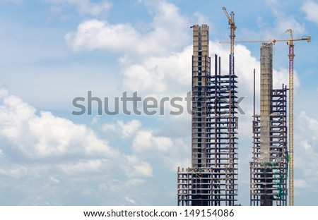 Abandoned buildings being deconstructed piece by piece stock photo