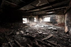 Abandoned burned out building