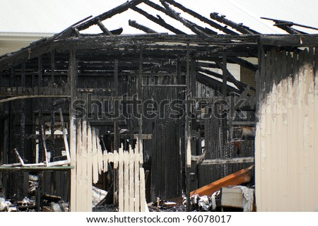 abandoned burnt out house