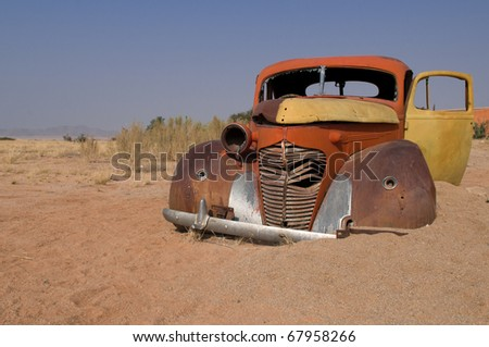 Abandoned car near a service station at Solitaire in the Namib Desert, Namibia