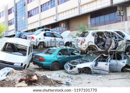 Abandoned Cars. Car scrapyard. Car dump. Scrap vehicles. Vehicle Recycling