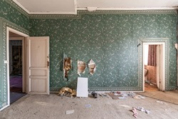 Abandoned castle, room with green retro wallpaper