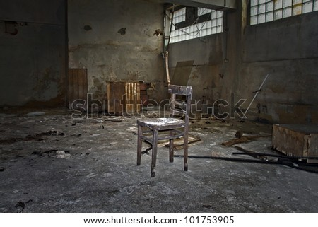 abandoned chair factory in the workshop