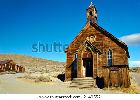 Abandoned church in a ghost town, Bodie State Park, California - stock photo