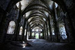 Abandoned Church. Interior architecture of old and abandoned building.