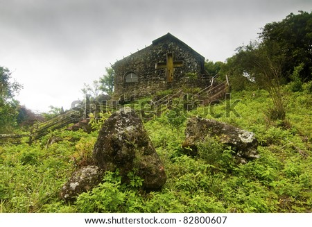 Abandoned Church on Rainy Day