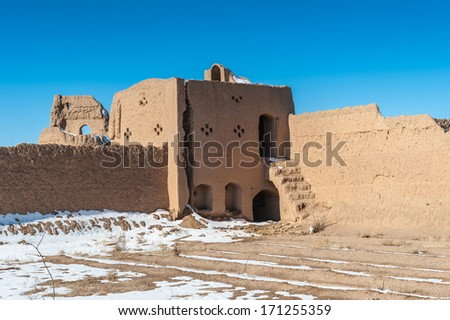 Abandoned clay house in the village of the Isfahan province in Iran