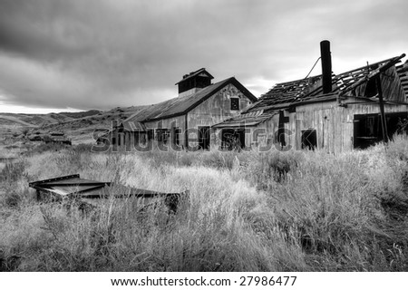 abandoned coal mine in rural Montana, US - stock photo