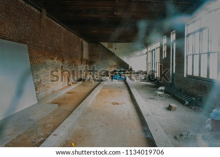 Abandoned construction on a historical building in the city. stock photo