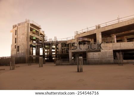 Abandoned construction site at night. Dubai, United Arab Emirates stock photo
