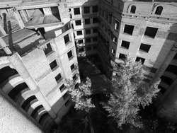 Abandoned construction site of Hospital. (aerial drone image)Abandoned at 1991,during Ukrainian undependence crisis. Kiev Region,Ukraine(drone image,infrared filter)