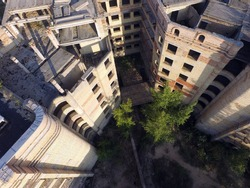 Abandoned construction site of Hospital. (aerial drone image)Abandoned at 1991,during Ukrainian undependence crisis. Kiev Region,Ukraine