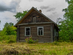 Abandoned cottage in the village abandoned wooden house abandoned house