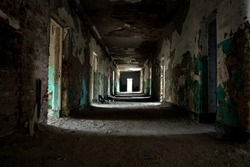 abandoned creepy corridor in szentkiralyszabadja Hungary .