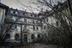 Abandoned creepy looking tall old trees without leaves in front of old abandoned hotel building. Creepy haunted hotel with dark horror atmosphere and spooky details.  Scary view of ancient mansion.