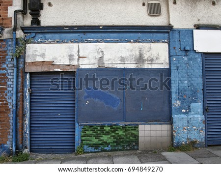 abandoned derelict shop with...
