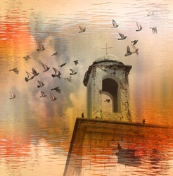 Abandoned destroyed stone building of a Christian church. Old brick wall. Cracked and shabby blue dome with cross. Pigeons fly in cloudy sky.  Reflection in golden autumn water. Oblivion. Fantasy