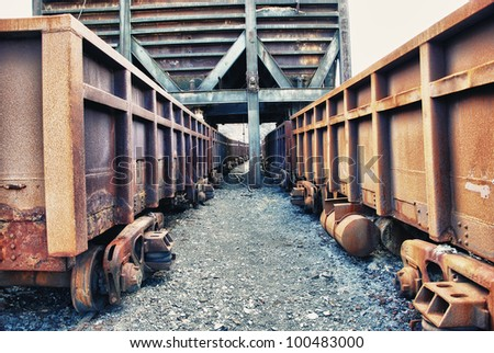 Abandoned facilities freight cars, old trains wagon in mines Tharsis - Former mine in Spain