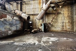 abandoned factory, industrial background - the ruins of the factory interior dark