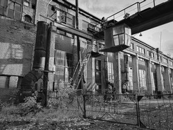 Abandoned factory with a crane beam