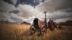 Abandoned farm equipment in rural Colorado