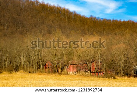 Abandoned farm in winter with red barns near Allamuchy, NJ