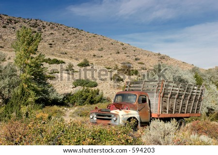 abandoned farm truck in rural wyoming