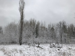 Abandoned farmer's field covered in snow during the winter