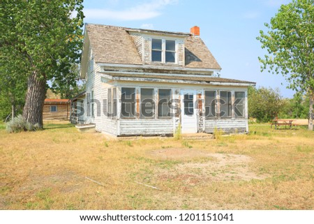 Abandoned farmhouse, Peacefull Valley Ranch in Theodore Roosevelt National Park, North Dakota, USA