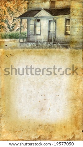 Abandoned farmhouse porch on a grunge background. Copy-space for your text.