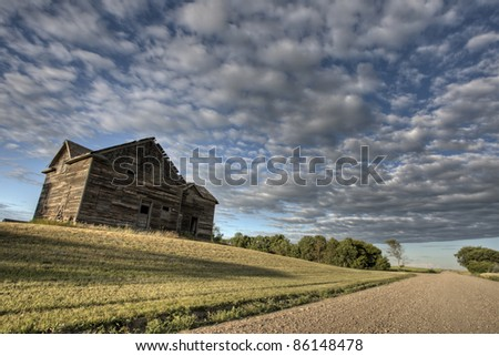 Abandoned Farmhouse Saskatchewan Canada sunset and prairie view
