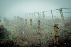abandoned fence in the fog