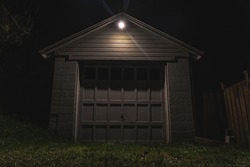 Abandoned garage with foreboding gloom and doom vibes