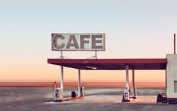 Abandoned gas station by sunset / sunrise in the desert on Route sixtysix